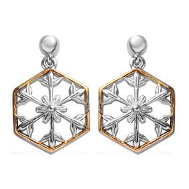 Platinum and Yellow Gold Overlay Sterling Silver Snowflake Earrings (with Push Back)