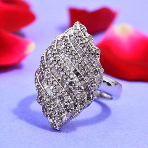 Diamond (Rnd and Bgt) Ring in Platinum Overlay Sterling Silver 1.00 Ct, Silver wt 5.29 Gms