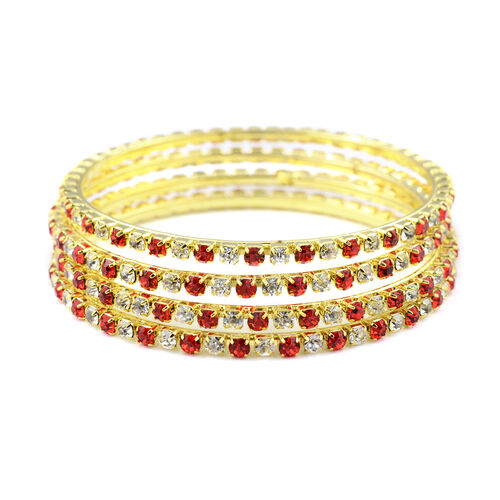 One Time Close Out - 4 Piece Set Simulated Ruby and Diamond (Rnd) Bangle (Size 7.25) in Yellow Gold Tone