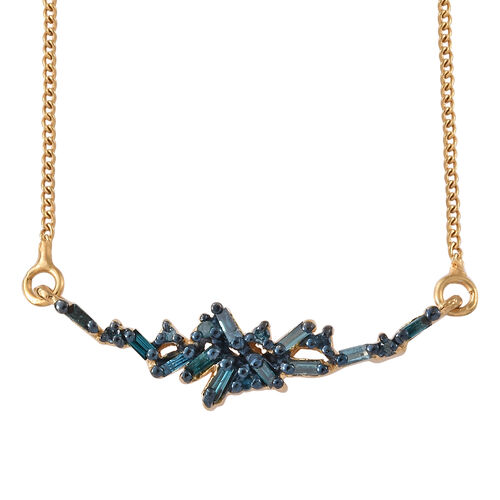 Blue Diamond (Bgt) Necklace with Chain (Size 18 plus 1.5 inch Extender) in 14K Gold Overlay Sterling Silver 0.200 Ct