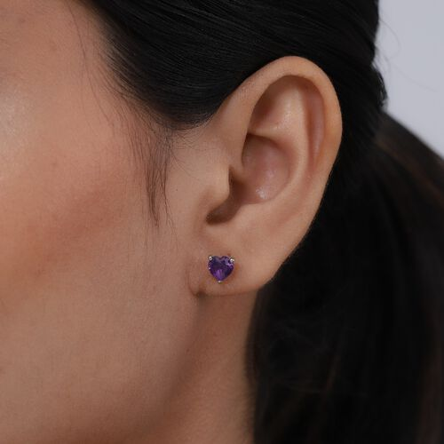 Amethyst Heart Stud Earrings (with Push Back) in Platinum Overlay Sterling Silver 1.42 Ct.