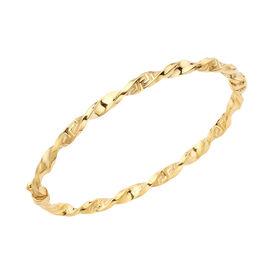 9K Yellow Gold Greek Key Twisted Bangle (Size 7), Gold wt 4.65 Gms