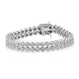 Close Out Deal- Diamond  (I1/I2) (Rnd) Bracelet (Size 7.25) in Rhodium Overlay Sterling Silver 0.50