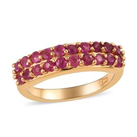 African Ruby (Rnd) Two Row Half Eternity Ring in 14K Gold Overlay Sterling Silver 1.25 Ct.