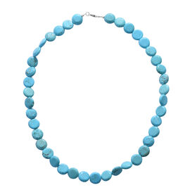 Massive Marathon Deal- Mohave Turquoise (Coin 12mm) Necklace (Size 20) in Sterling Silver 200.000 Ct