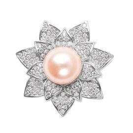 One Time Deal- Freshwater Peach Pearl (Rnd), Simulated Diamond Floral Pendant in Silver Tone