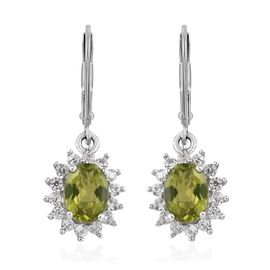 Hebei Peridot (Ovl), Natural Cambodian Zircon Earrings in Platinum Overlay Sterling Silver 3.50 Ct.