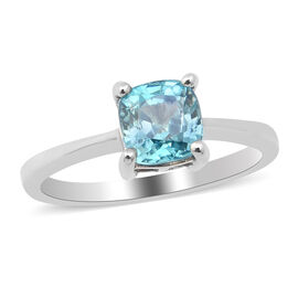 Close Out Deal- Ratanakiri Blue Zircon Solitaire Ring in Rhodium Overlay Sterling Silver 1.70 Ct.