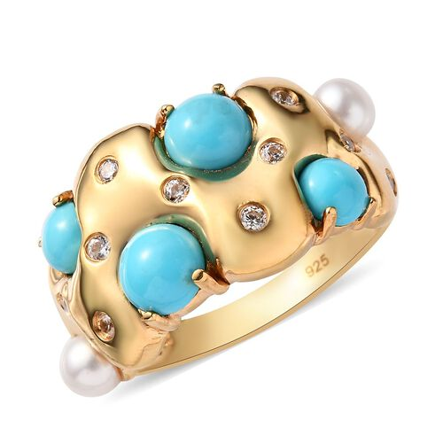 2.30 Ct Sleeping Beauty Turquoise Cluster Ring in Gold Plated Silver