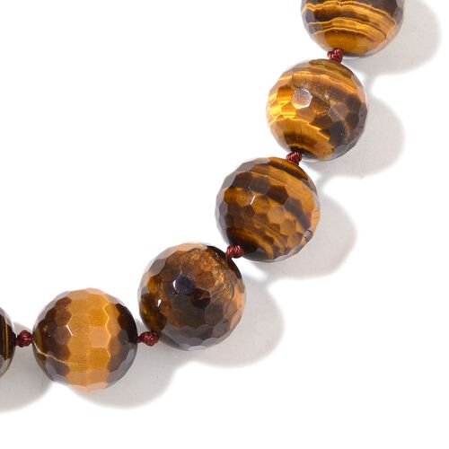Limited Edition - Very Rare Size Tigers Eye Ball Necklace (Size 20) with Magnetic Clasp in Rhodium Plated Sterling Silver 1044.000 Ct.