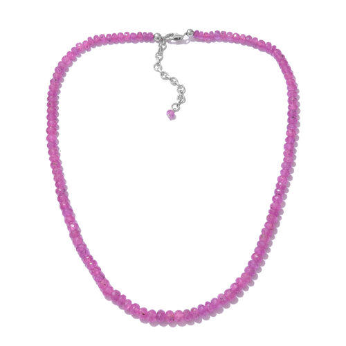 Madagascar Hot Pink Sapphire Beads Necklace Size 18 in Silver 136.80 Ct