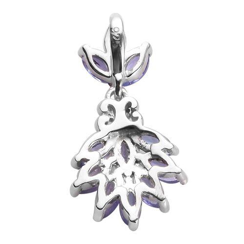 Tanzanite Pendant in Platinum Overlay Sterling Silver 0.88 Ct.
