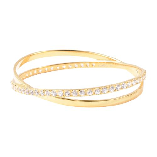 Isabella Liu Collection - Natural White Cambodian Zircon (Rnd) Bangle (Size 7.5) in Yellow Gold Overlay Sterling Silver Silver Wt 21 Grams