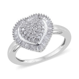 9K White Gold SGL Certified Diamond (Rnd) (I3/G-H) Heart Ring 0.500  Ct.
