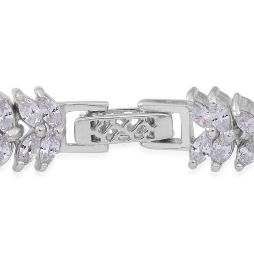 ELANZA AAA Simulated White Diamond (Mrq) Bracelet (Size 7.5) in Rhodium Plated Sterling Silver, Silver wt 18.50 Gms.