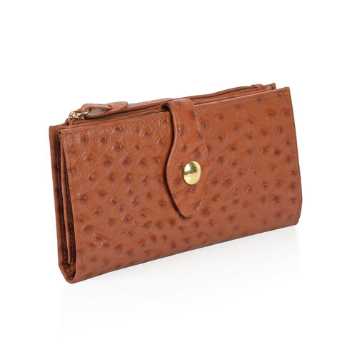 Close Out Deal 100% Genuine Leather Italian Tan Ostrich Embossed Large Clutch Wallet with RFID Blocking (Size 19x2.5x10 Cm Large phone can fit in )