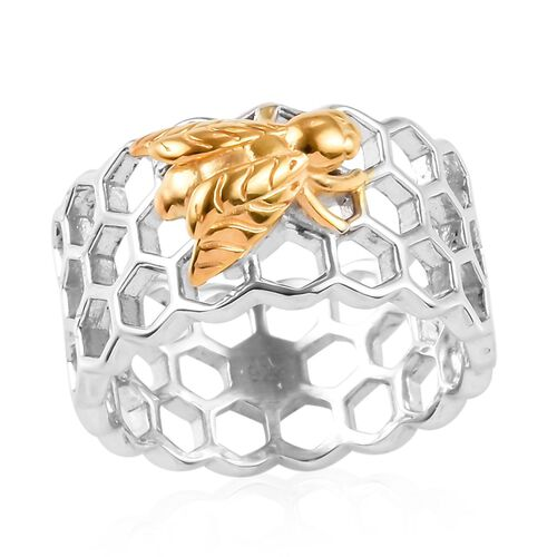 Honeycomb Bee Band Ring in Platinum and Gold Plated Sterling Silver