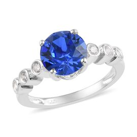 J Francis Sapphire Colour Crystal and Swarovski White Crystal from Swarovsk Classic Ring in Silver