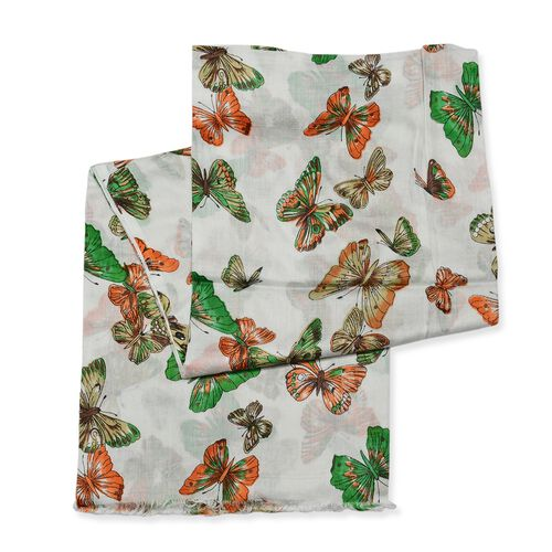 Orange, White and Green Colour Butterfly Pattern Scarf (Size 180x70 Cm)