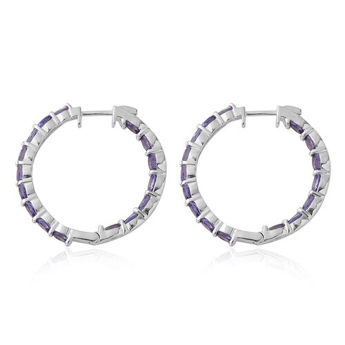 Tanzanite (Ovl) Hoop Earrings (with Clasp) in Rhodium Plated Sterling Silver 5.250 Ct, Silver wt. 5.26 Gms