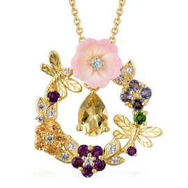 Jardin Collection- Pink Mother of Pearl, Amethyst and Multi Gemstone 5 Stone Pendant with Chain (Siz