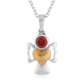 Simulated Garnet Pendant With Chain (Size 20) in Yellow Gold and Platinum Overlay Sterling Silver
