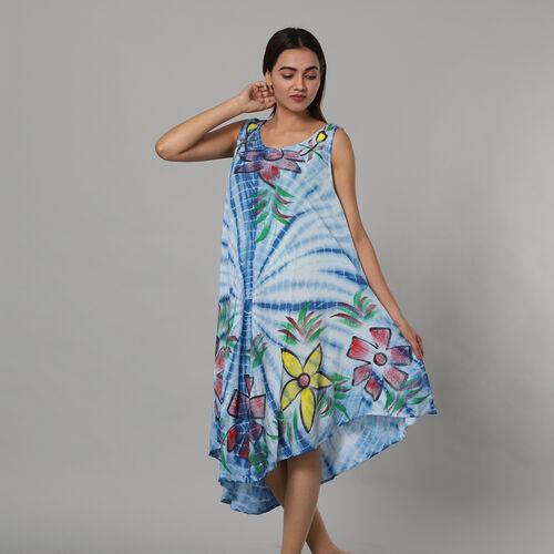 Tie & Dye Light Blue Umbrella Dress in Floral Pattern (Size upto 20) - 120cm/47in