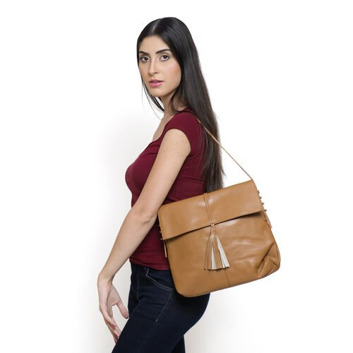 Genuine Leather Tan Colour Shoulder Bag with Shoulder Strap (Size 30x26x6 Cm)