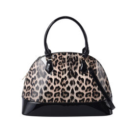 Brown Leopard Pattern Patent Satchel Bag with Adjustable Shoulder Strap (37x26x25cm)