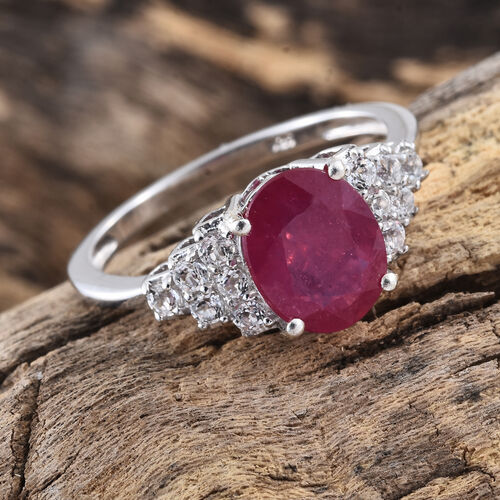 Designer Inspired-  African Ruby (Ovl 4.00 Ct), White Topaz Ring in Platinum Overlay Sterling Silver 4.500 Ct.