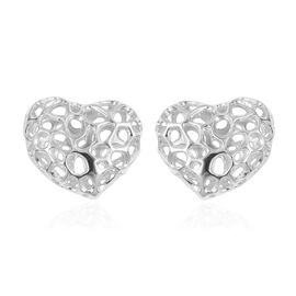 RACHEL GALLEY Heart Stud Earrings in Rhodium Plated Sterling Silver with Push Back