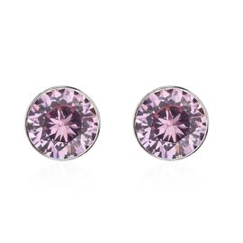 Super Auction - ELANZA Simulated Pink Sapphire (Rnd 5mm) Stud Earrings (with Push Back) in Sterling Silver