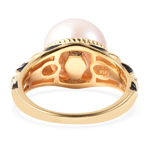 Edison Pearl Enamelled Ring in Yellow Gold Overlay Sterling Silver