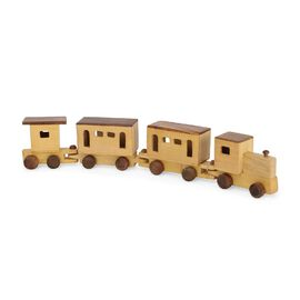 Handmade Wooden Train Toy with 4 Compartments ( 47X9 CM)