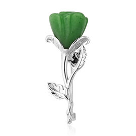 Green Jade Rose Brooch in Rhodium Overlay Sterling Silver 22.00  Ct.