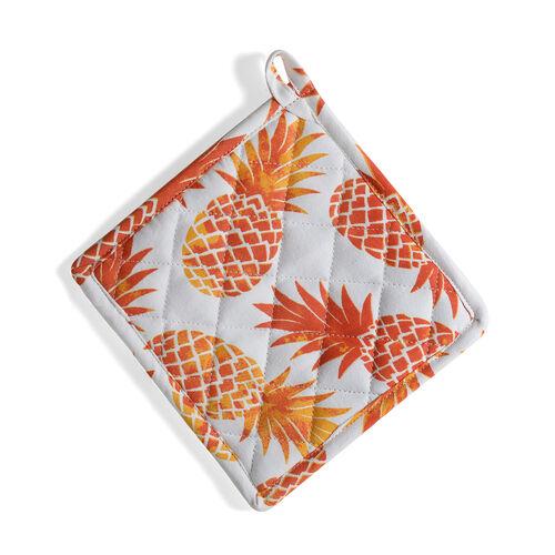Kitchen Textiles White and Orange Colour Pineapple Printed Apron (Size 75x65 Cm), Glove (32x18 Cm), Pot Holder (Size 20x20 Cm), Kitchen Towel (Size 65x40 Cm) and Bag (45x35 Cm)