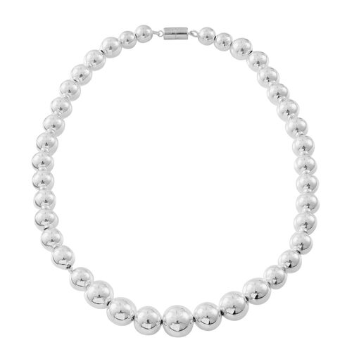 Thai Sterling Silver Graduated Ball Necklace (Size 19) with Magnetic Clasp, Silver wt 58.00 Gms.