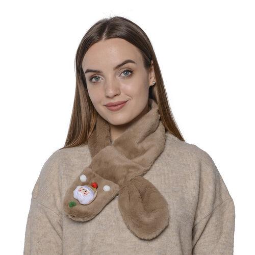 Faux Fur Scarf (Size 10x90cm) - Brown