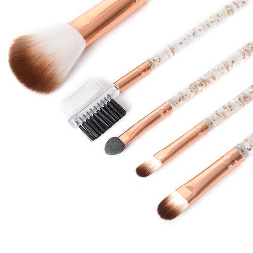 Makeup Brush Set of 5 with 1 Powder Brush,1 Foundation Brush ,1 Smudge Brush;1 Eyelash Brush,1 Sponge Brush in Rose Gold (Size 20x6.5 Cm)