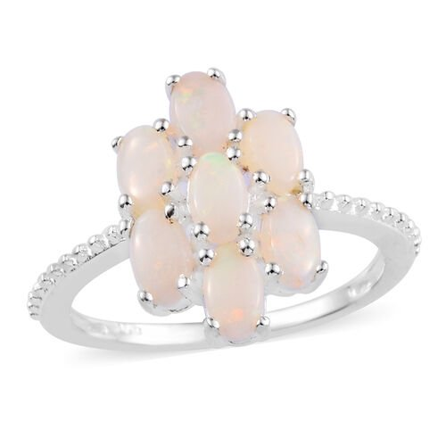 1 Carat Natural Australian Opal Floral Ring in Sterling Silver 1.89 Grams