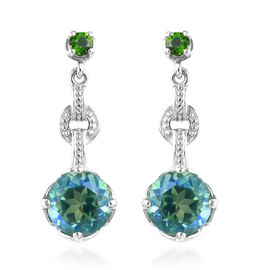 4.21 Ct Peacock Quartz and Russian Diopside Drop Earrings in Platinum Plated Silver