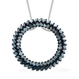 Blue Diamond (Bgt) Circle Pendant with Chain in Platinum Overlay with Blue Plating Sterling Silver 1.000 Ct.
