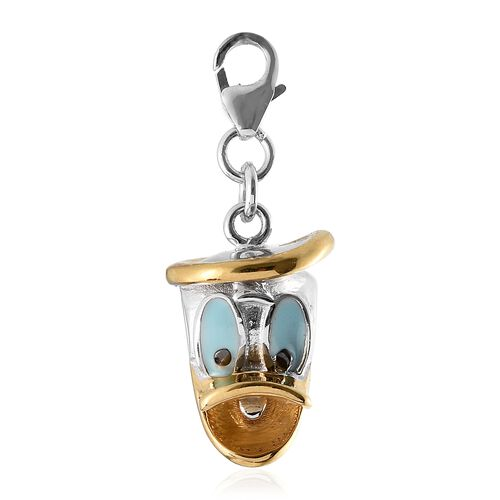 Duck Face Enamelled Charm in Platinum and Gold Plated 925S Silver 5.25 grams