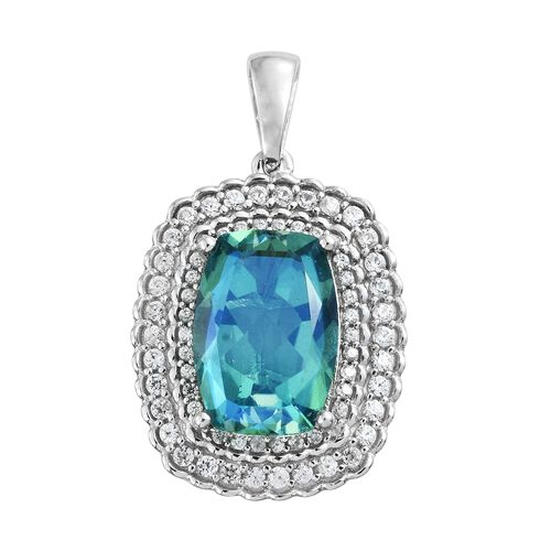 Peacock Quartz (Cush 6.60 Ct), Natural Cambodian Zircon Pendant in Platinum Overlay Sterling Silver