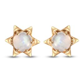 Rainbow Moonstone Stud Earrings (with Push Back) in 14K Gold Overlay Sterling Silver 2.130 Ct.