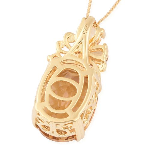 Brazilian Citrine (Ovl 16x12 mm), Natural White Cambodian Zircon Pendant With Chain (Size 18) in Yellow Gold Vermeil Sterling Silver 9.940 Ct.
