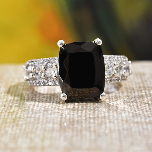 Elite Shungite (Cush 11x9 mm), Natural Cambodian Zircon Ring in Platinum Overlay Sterling Silver 3.25 Ct.