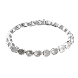 4 Carat Polki Diamond Tennis Bracelet in Platinum Plated Sterling Silver 16.50 Grams 7.25 Inch