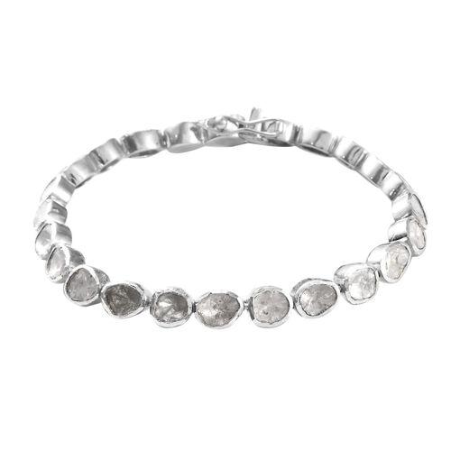 4 Carat Polki Diamond Tennis Bracelet in Platinum Plated Sterling Silver 16.50 Grams 7.25 Inch
