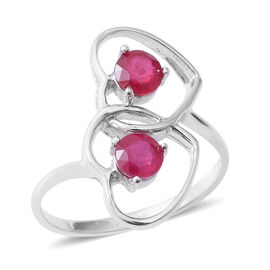 African Ruby (Rnd) Heart Ring in Rhodium Overlay Sterling Silver 1.300 Ct.